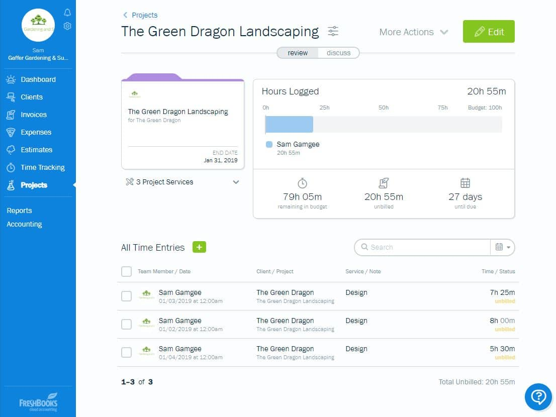 FreshBooks software features