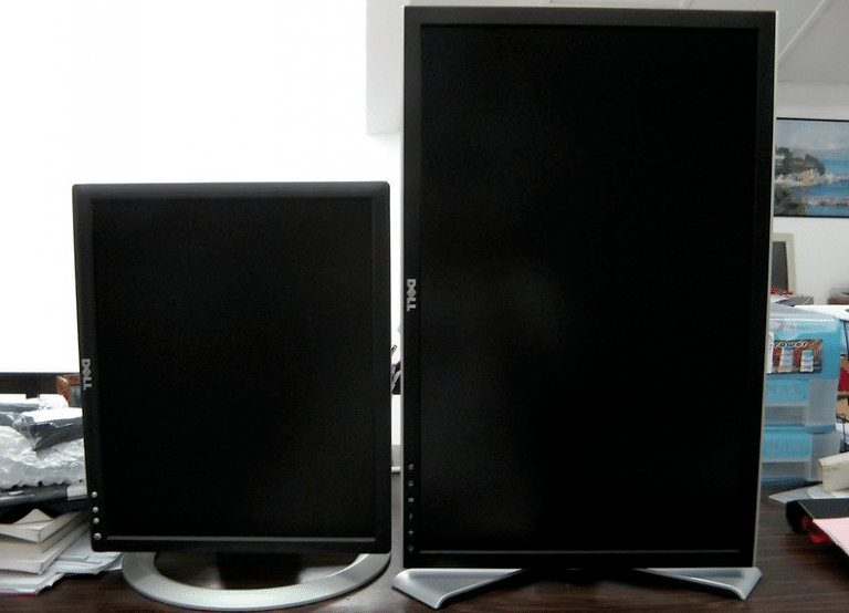 Two vertical monitors