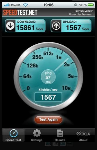 net speed test on smartphone