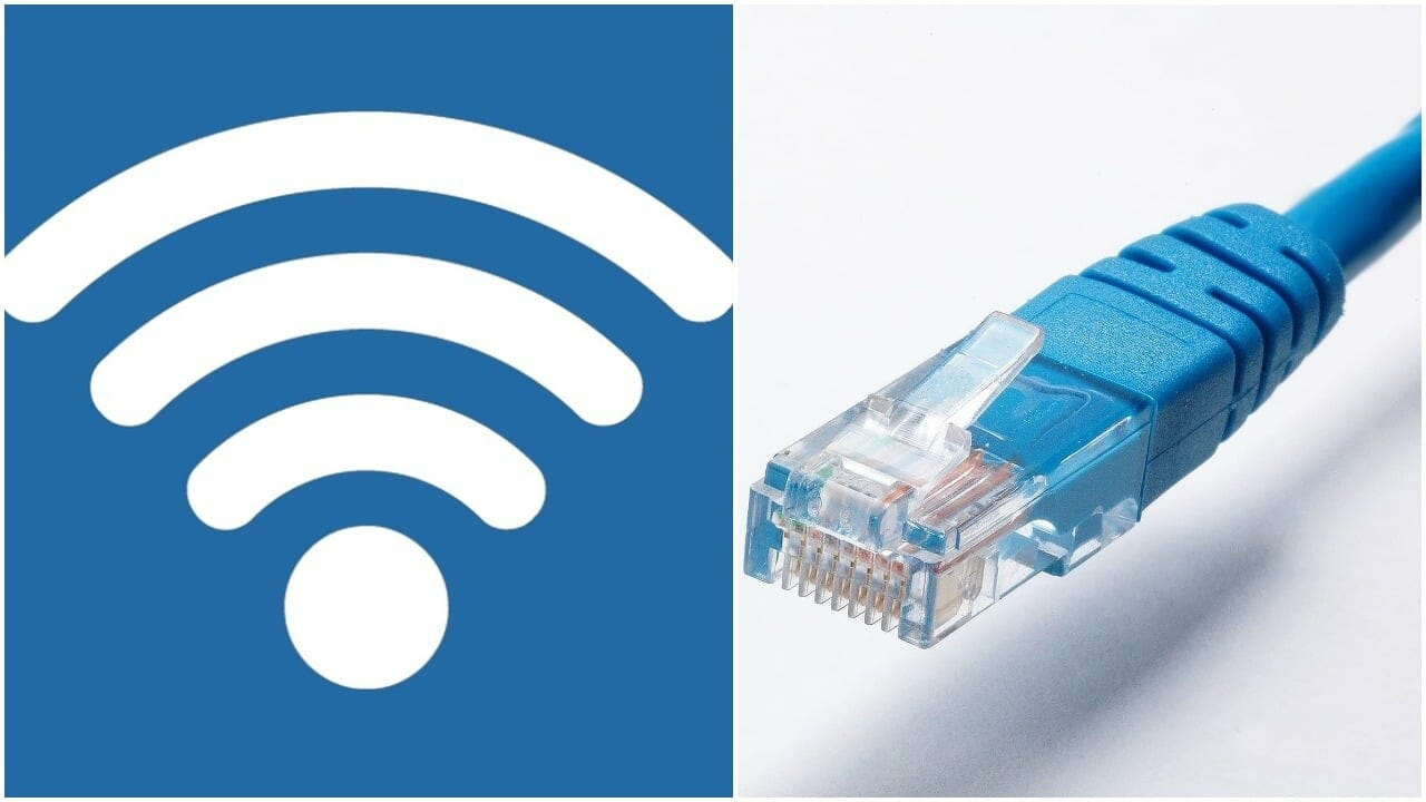 ethernet cable and wifi symbol