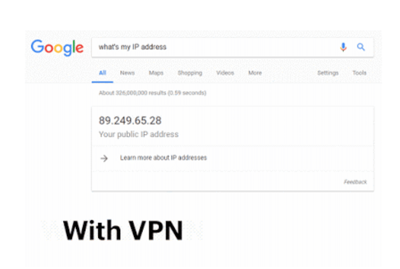 changed IP address using a VPN as shown by Chrome