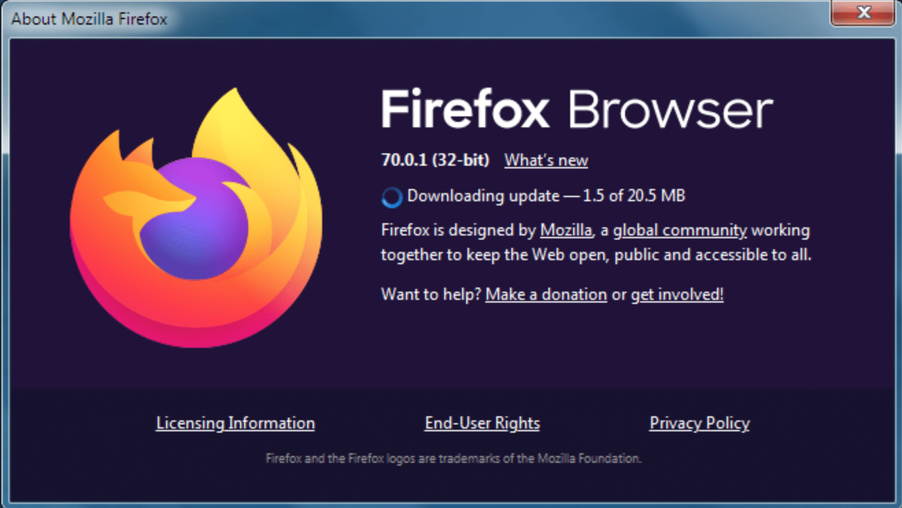 firefox browser and update