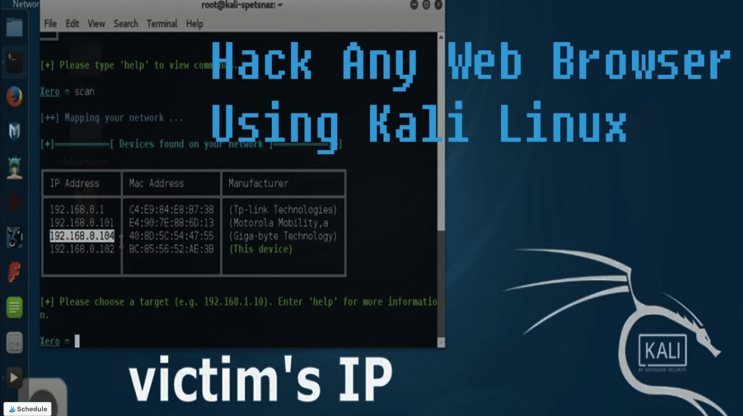 picture with text saying how to hack browser using kali linux and terminal open