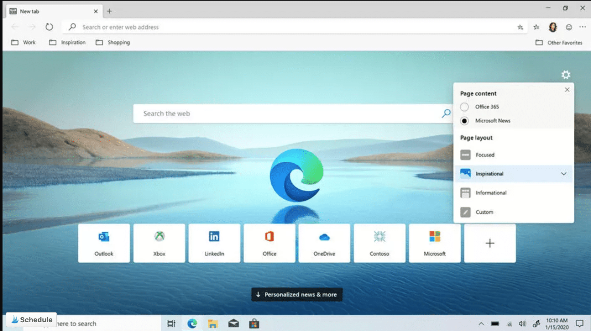 microsoft edge browser home
