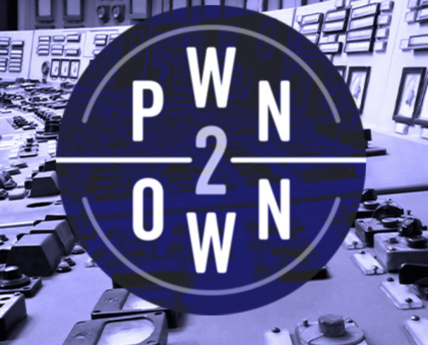 PWN2OWN logo with machines in background and in purple scale