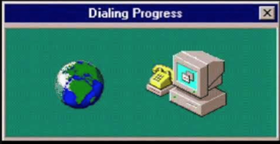 earth and computer showing dial up