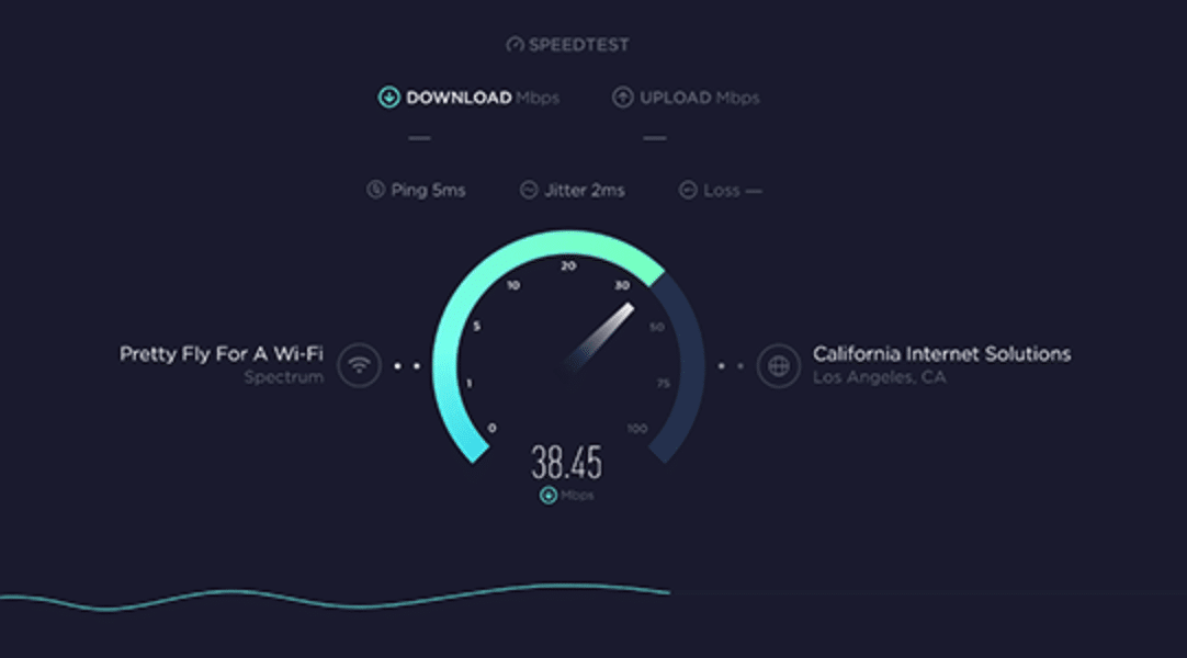 report of internet speed test
