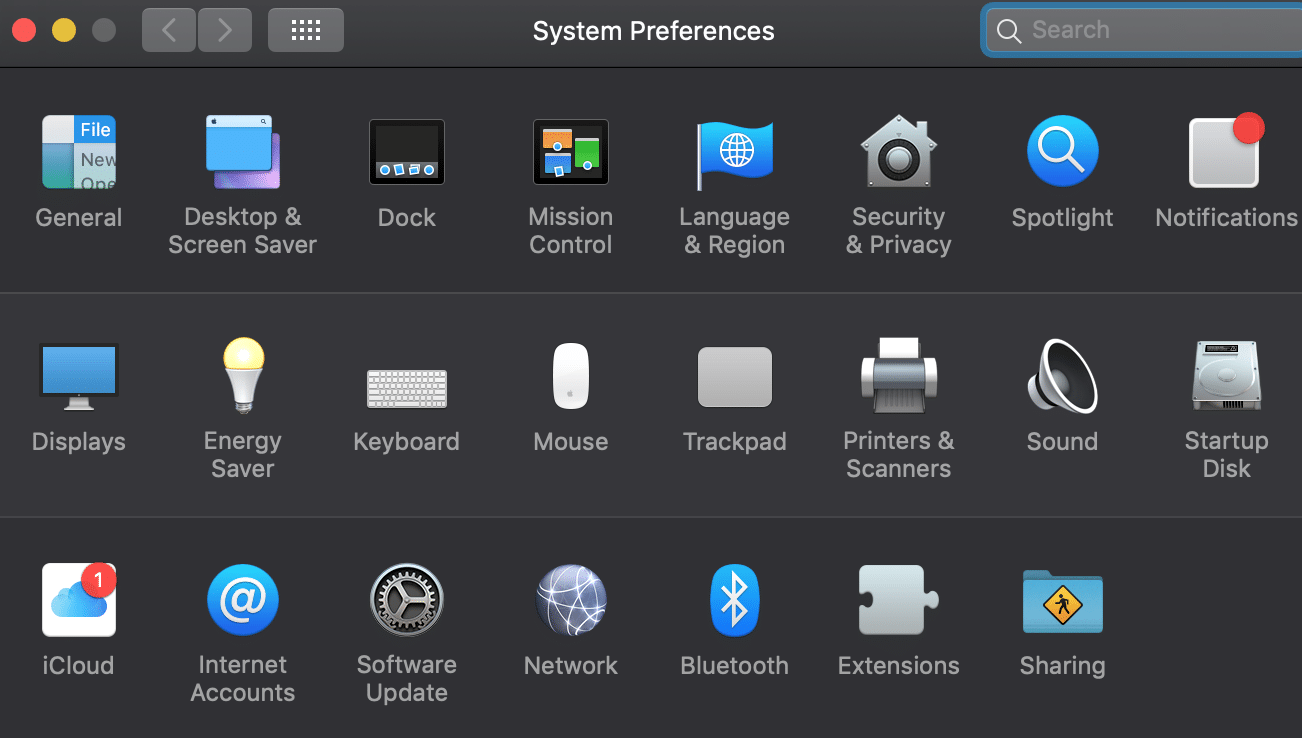 choices of system preferences apple