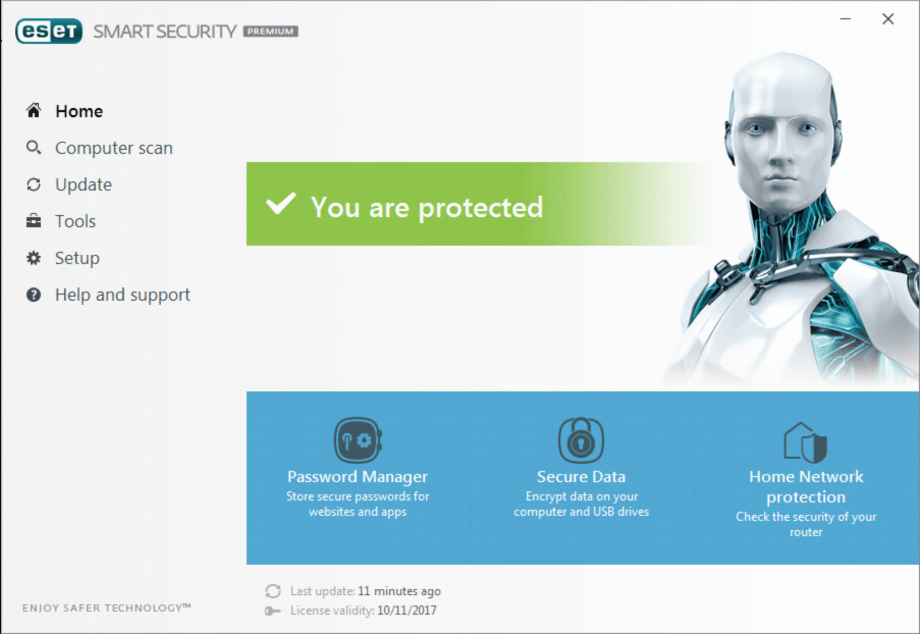 Eset user interface