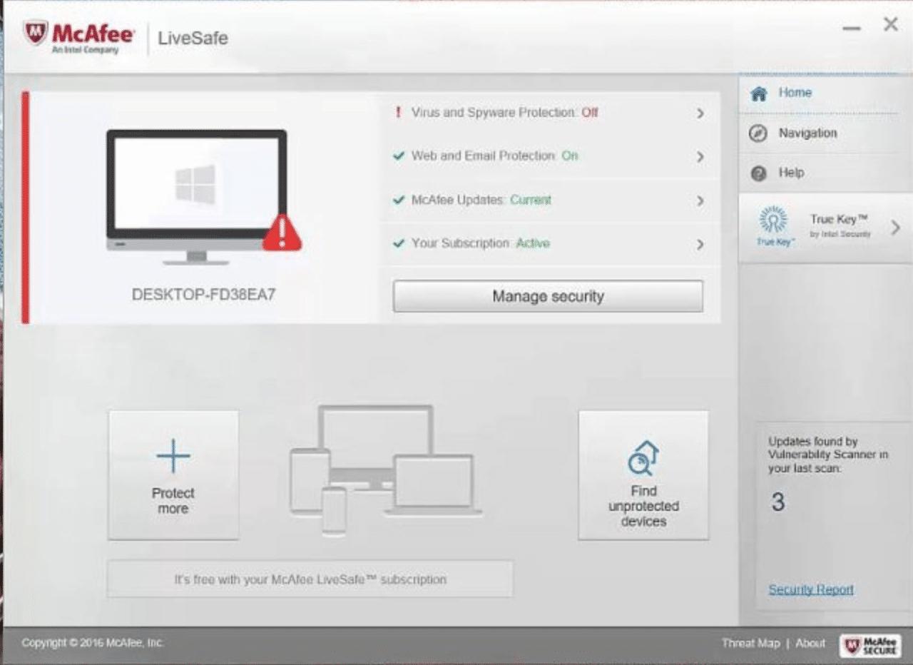 McAfee UI on desktop