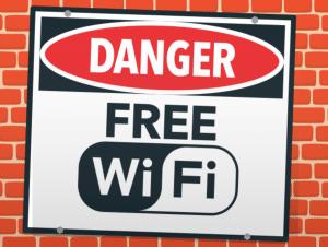 sign saying danger free wifi
