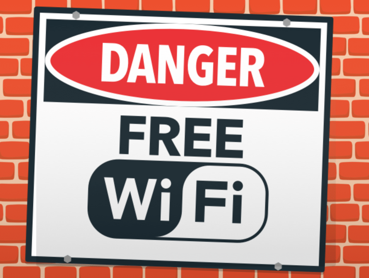 sign saying danger free wifi