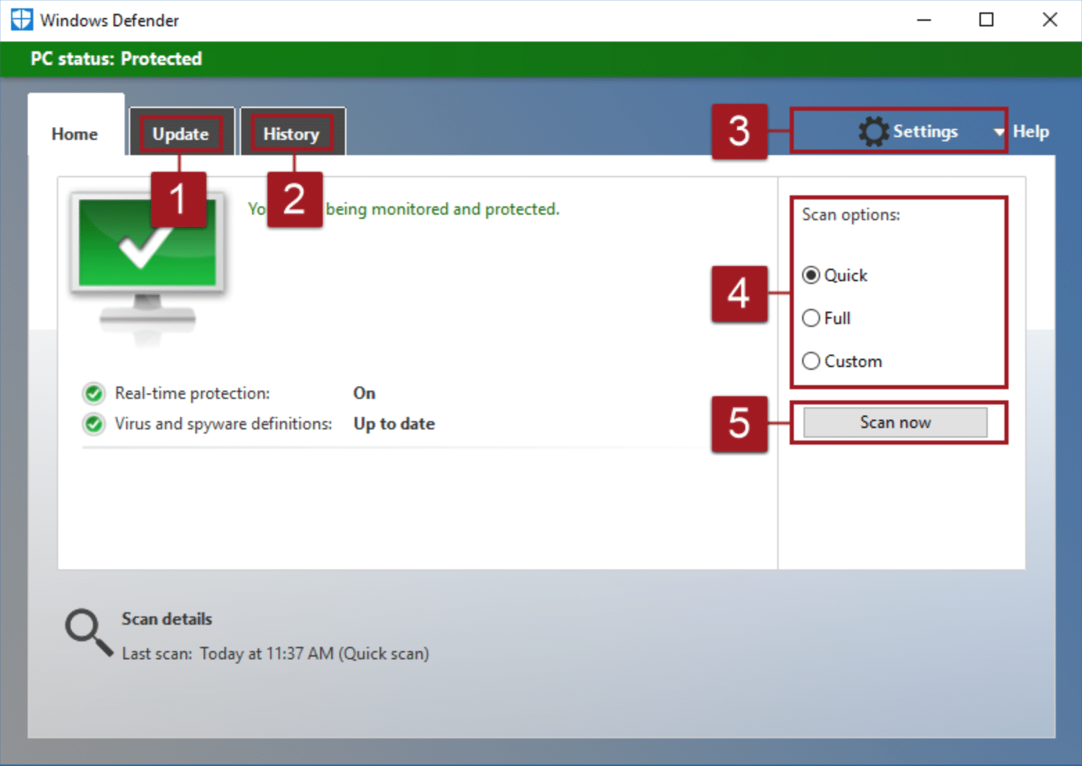 windows defender user interface screen