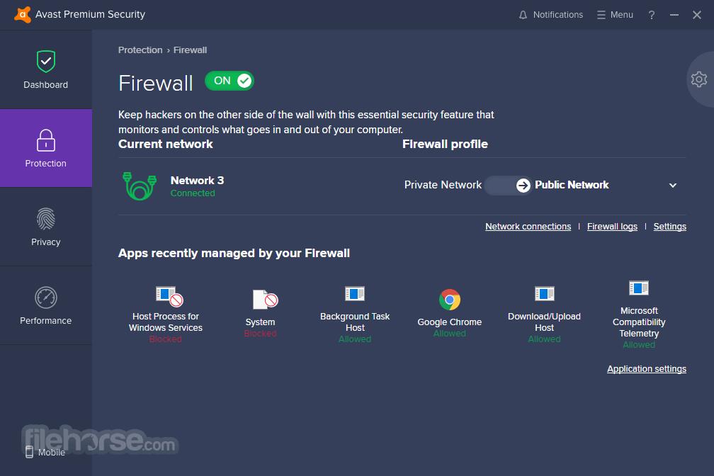 Avast firewall capture