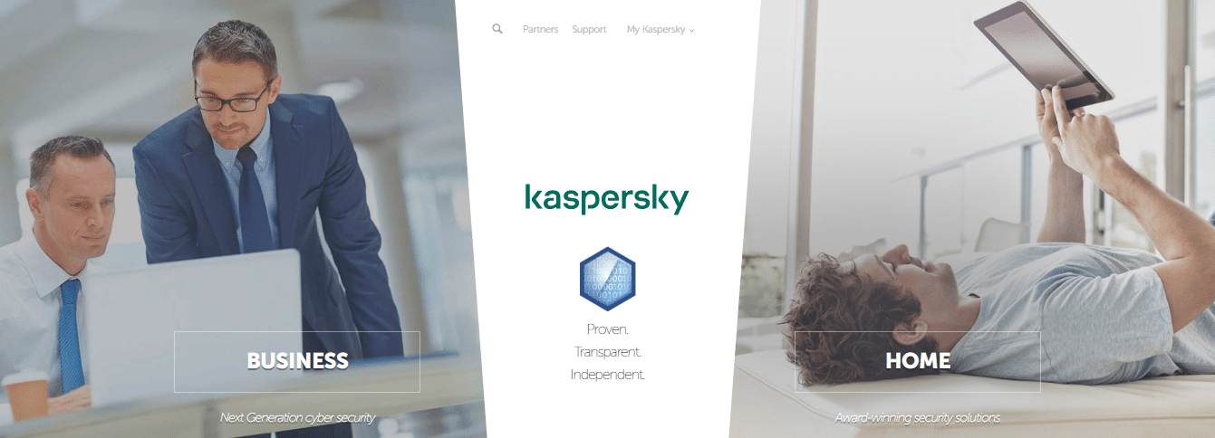 Kaspersky home and business options