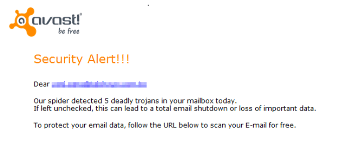 warning mail from Avast