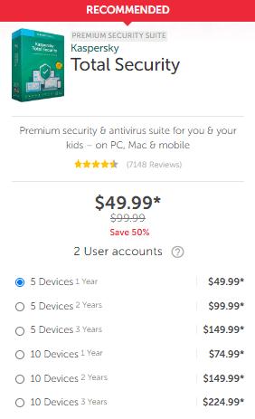 Kaspersky Total Security Pricing