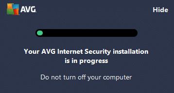 AVG software installation in progress