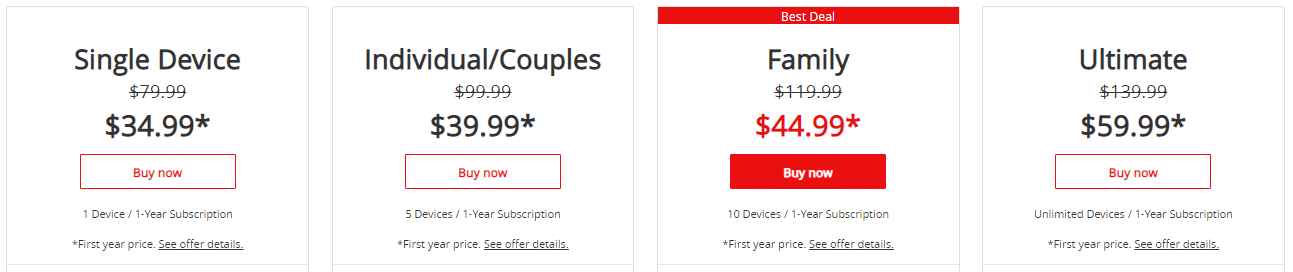 McAfee Software Pricing Plans