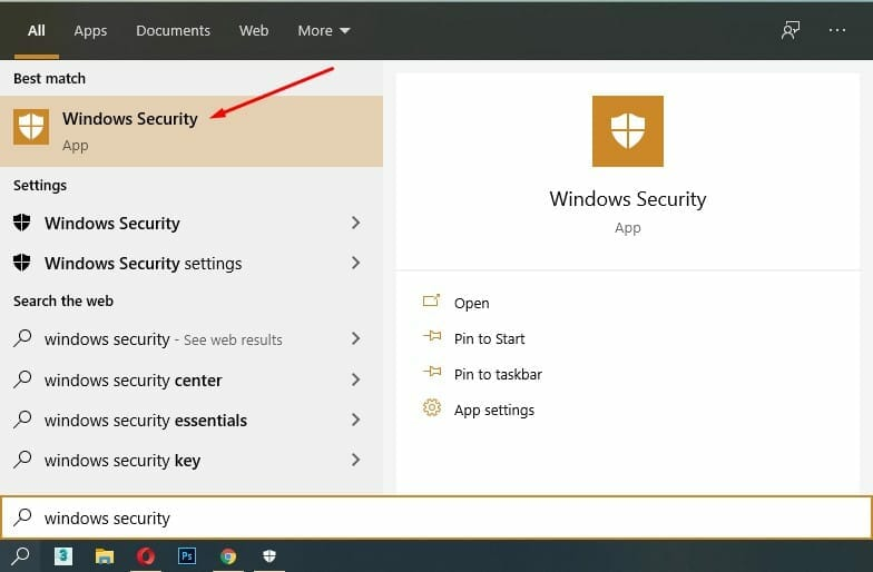 widows security in search bar
