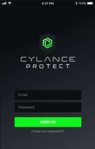 mobile cylance interface