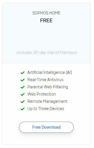 check sophos home package