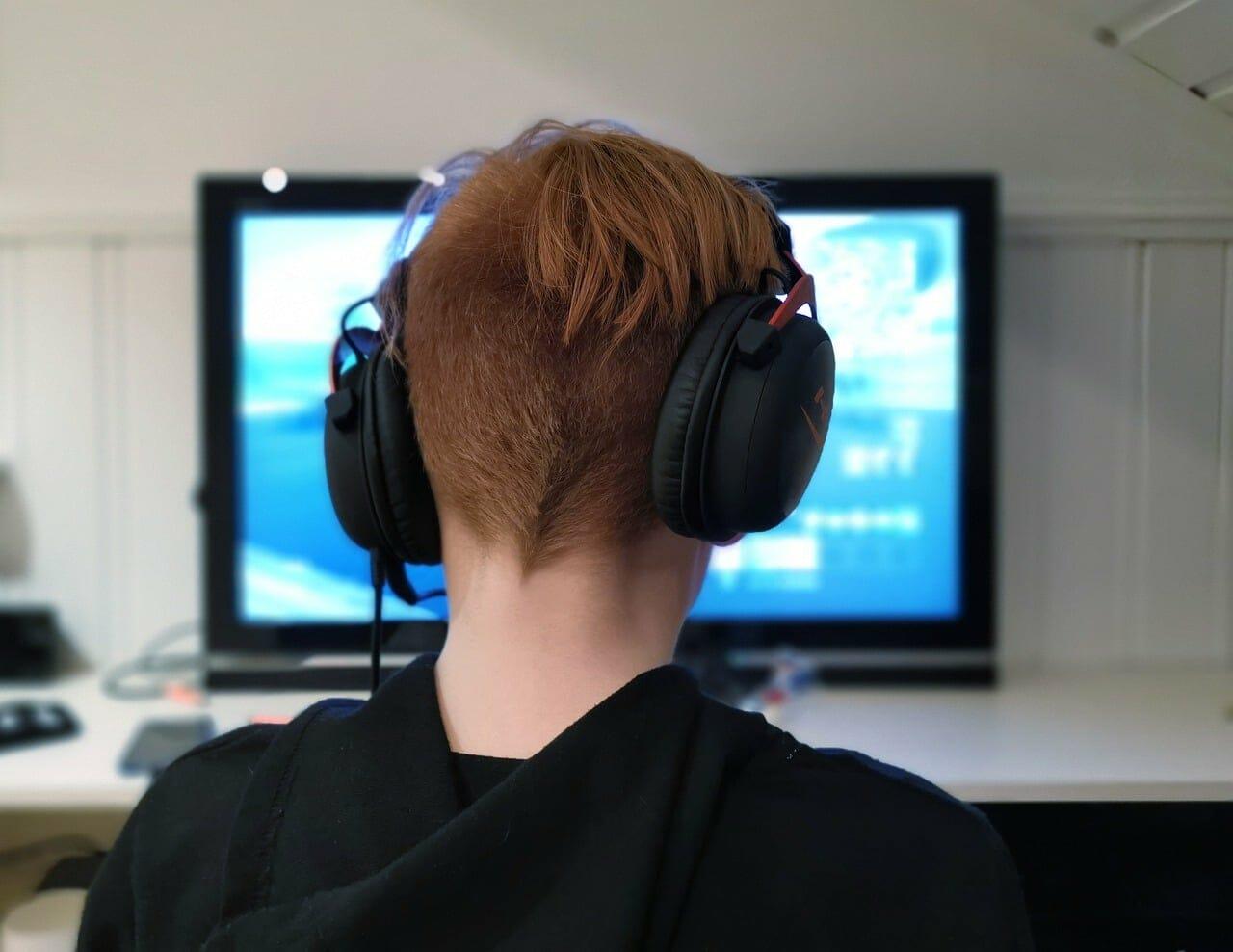 a gamer playing