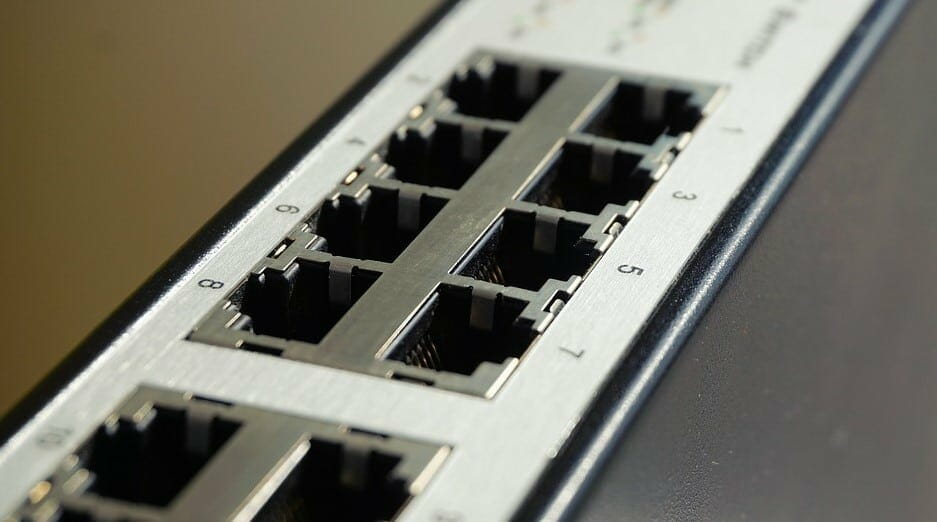 port for the cables on a router