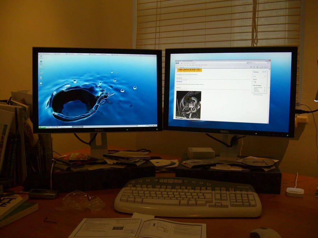 setup of two monitors