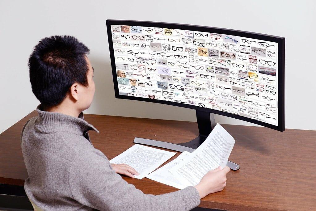 man watching the screen