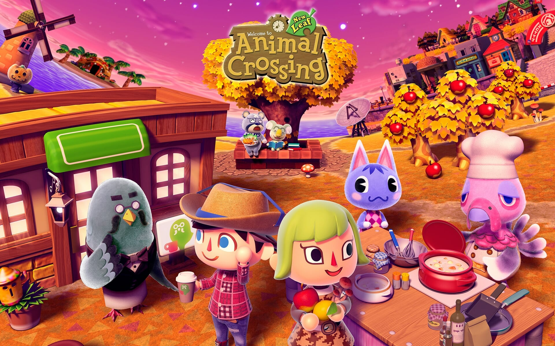 Animal Crossing characters and logo