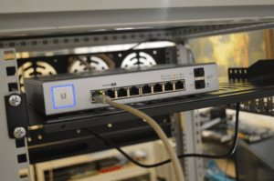internet cable plugged into the router