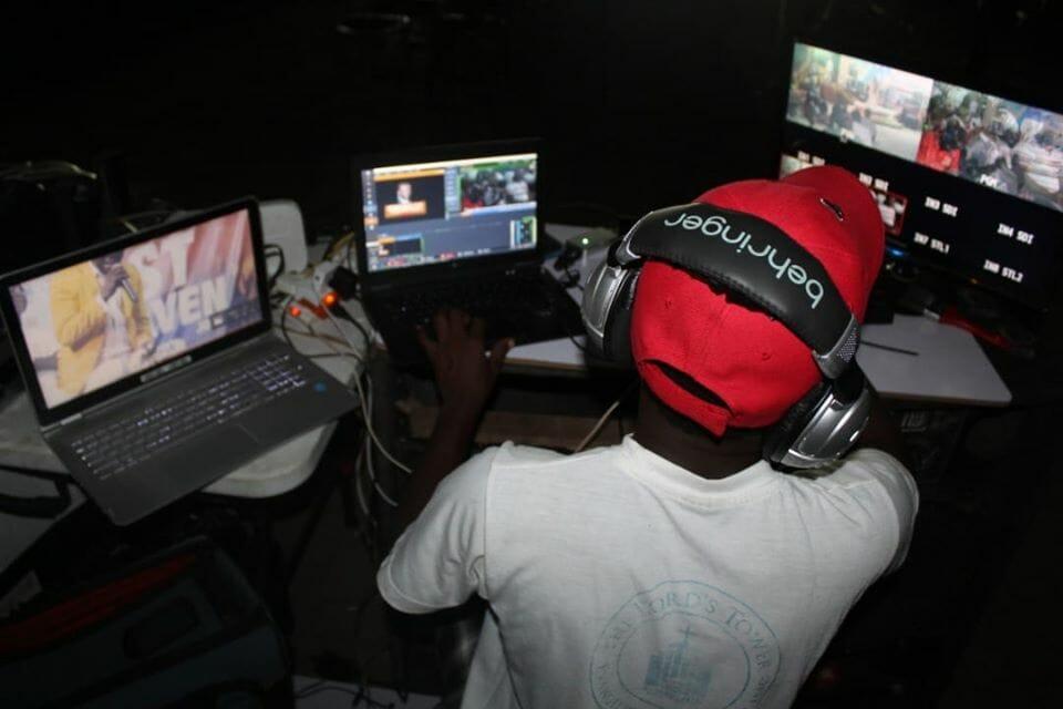 A gamer livestreaming