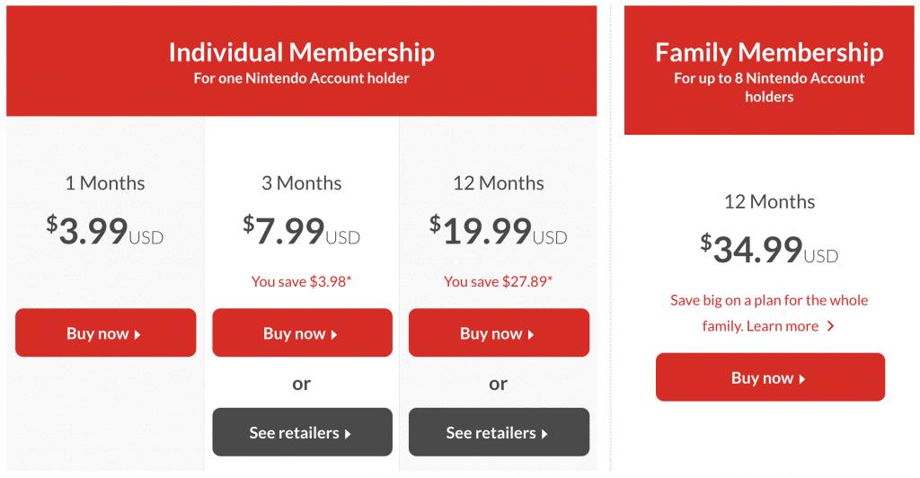 Pricing plans for Nintendo Membership