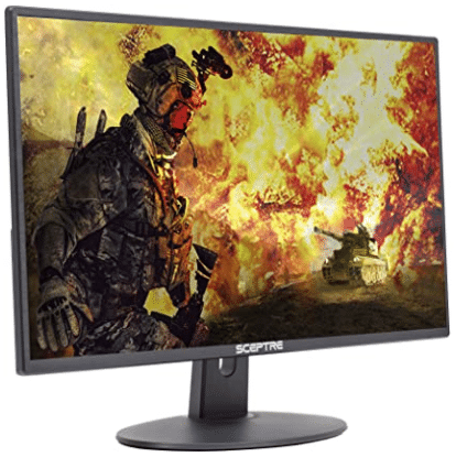 a game on the monitor screen