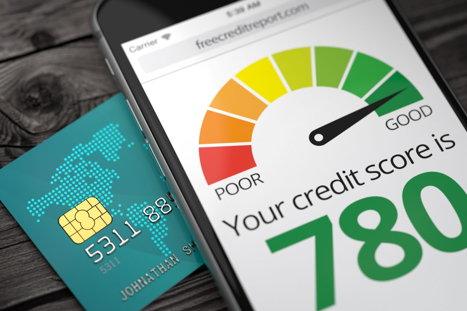credit score on cell phone screen