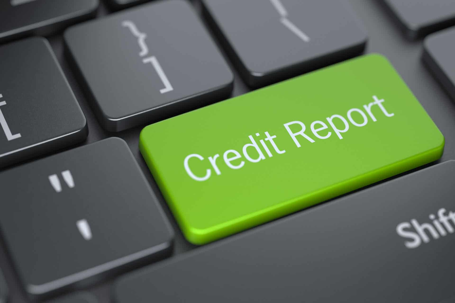 credit report green keyboard key