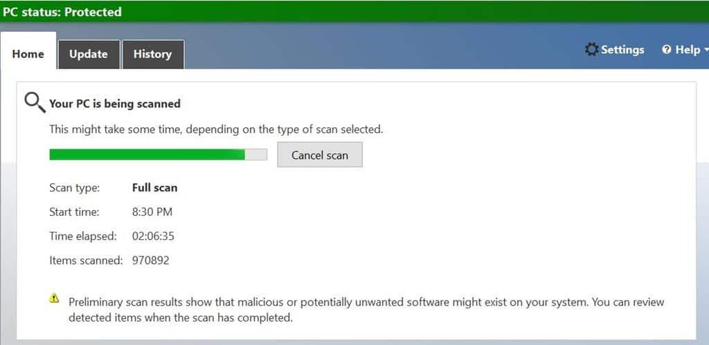 Windows Defender full scan capture