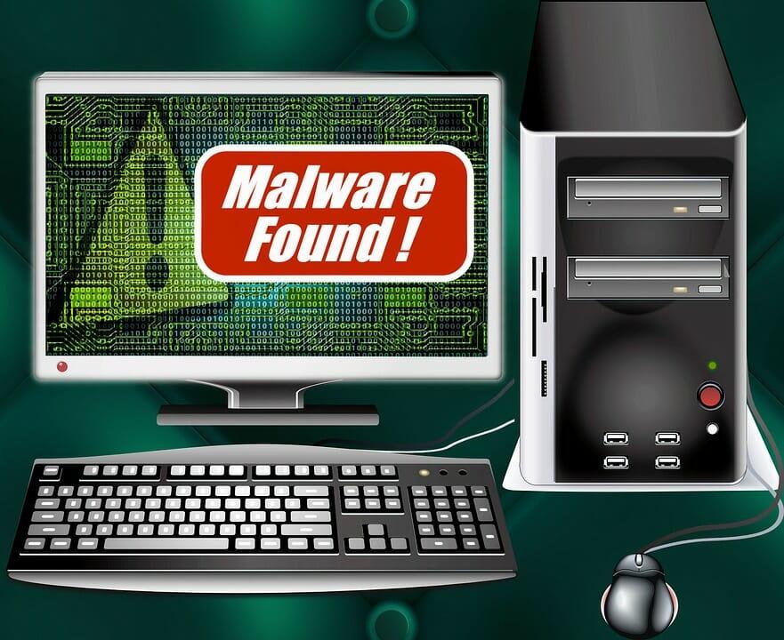 malware alert on the monitor screen
