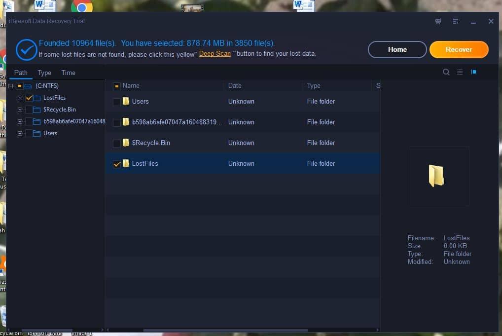 iBeesoft Data Recovery screen capture