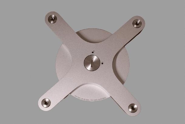 silver VESA mount adapter for display