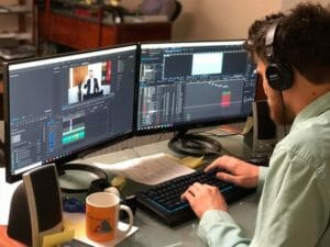 A man working on video editing