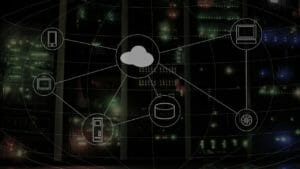 cloud-computing icons on the screen