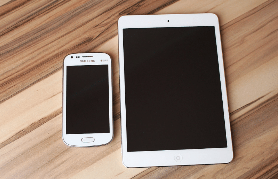 white samsung and tablet