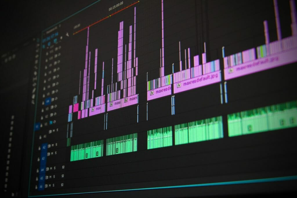 video editing program running on the monitor screen