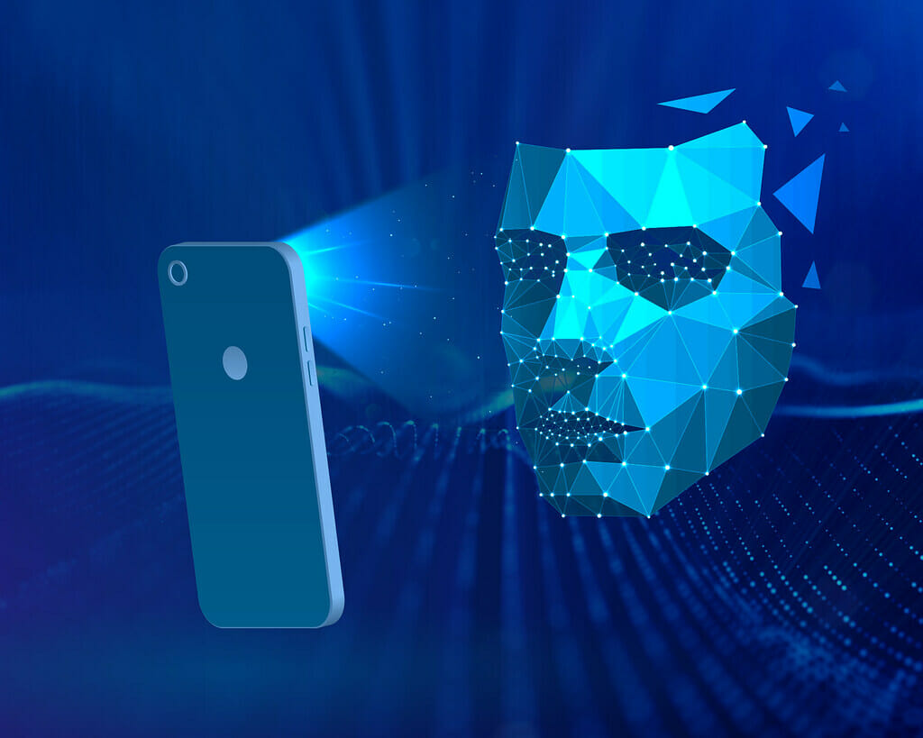a cell phone and face recognition digital illustation
